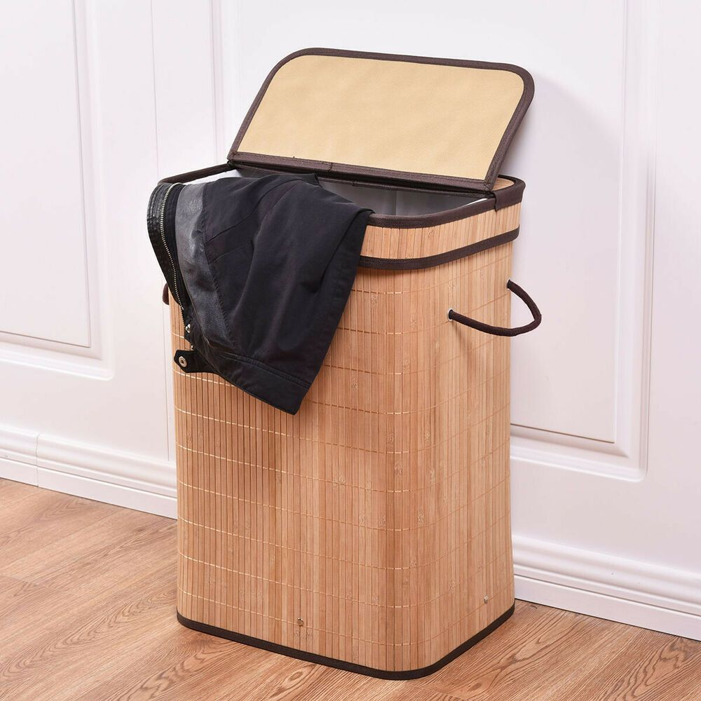 Bamboo Hamper Laundry Basket W Lid Bathroom Clothing Storage