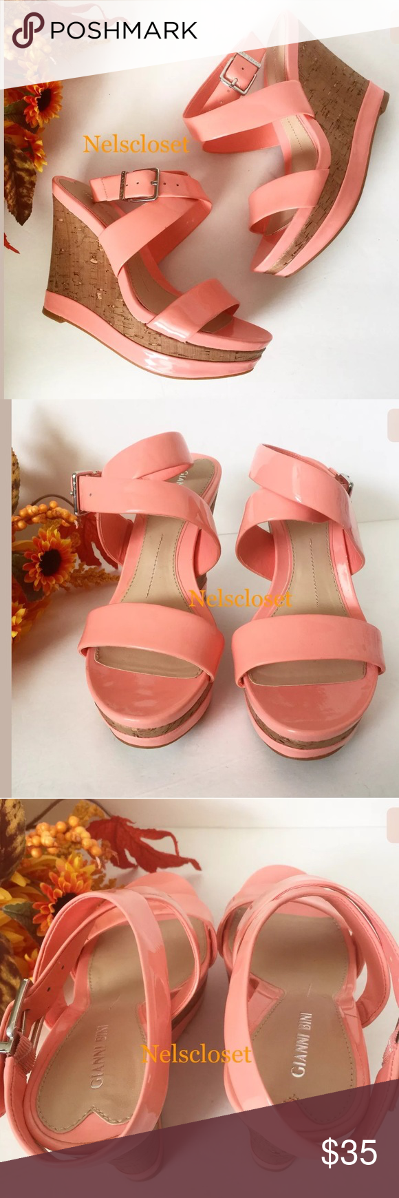 """NEW GIANNI BINI CORAL PATENT LEATHER WEDGE SHOES BRAND NEW GIANNI BINI CORAL PATENT LEATHER WEDGE SANDALS SHOES Size: 8M Heels height: 5"""" The shoes are still BRAND NEW WITHOUT BOX. NEVER BEEN USED Great for a gift or just to spoil yourself. Gianni Bini Shoes Wedges"""