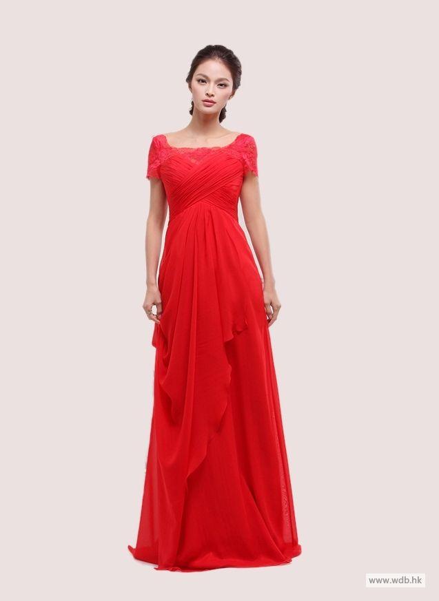 beach wedding Lace square neck with short sleeve chiffon floor-length dress $136.78