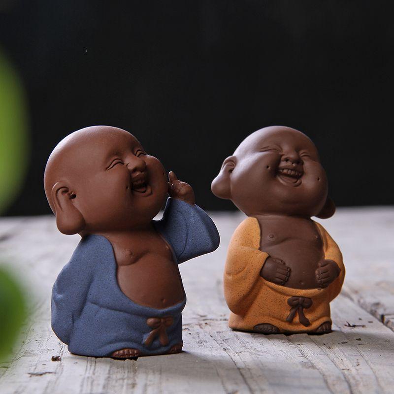 Exquisite Four Little Buddha Monks Figurine Ornament Car Home Decoration