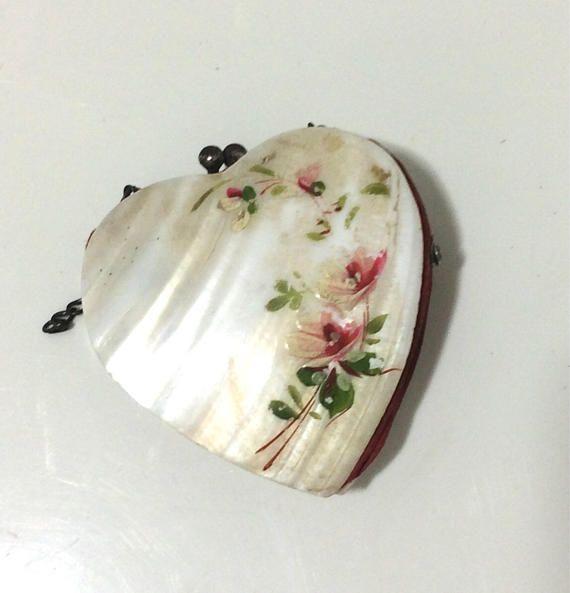 Vintage coeur peint en forme de coquillage porte monnaie