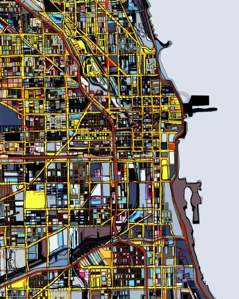 Chicago art city map for sale modern map art abstract