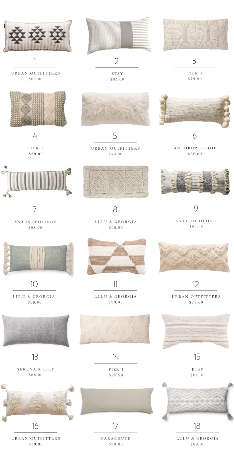 Home And Lifestyle Blogger Liz Fourez Shares Over 60 Options For Stylish Lumbar Pillows One Of Her Favorite Dec Throw Pillows Living Room Pillows Euro Pillows Throw pillows for bed decorating