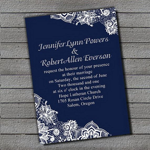 Beautiful Royal Blue Wedding Invitation Sets Free RSVP Cards And Envelopes Lace Printed Details