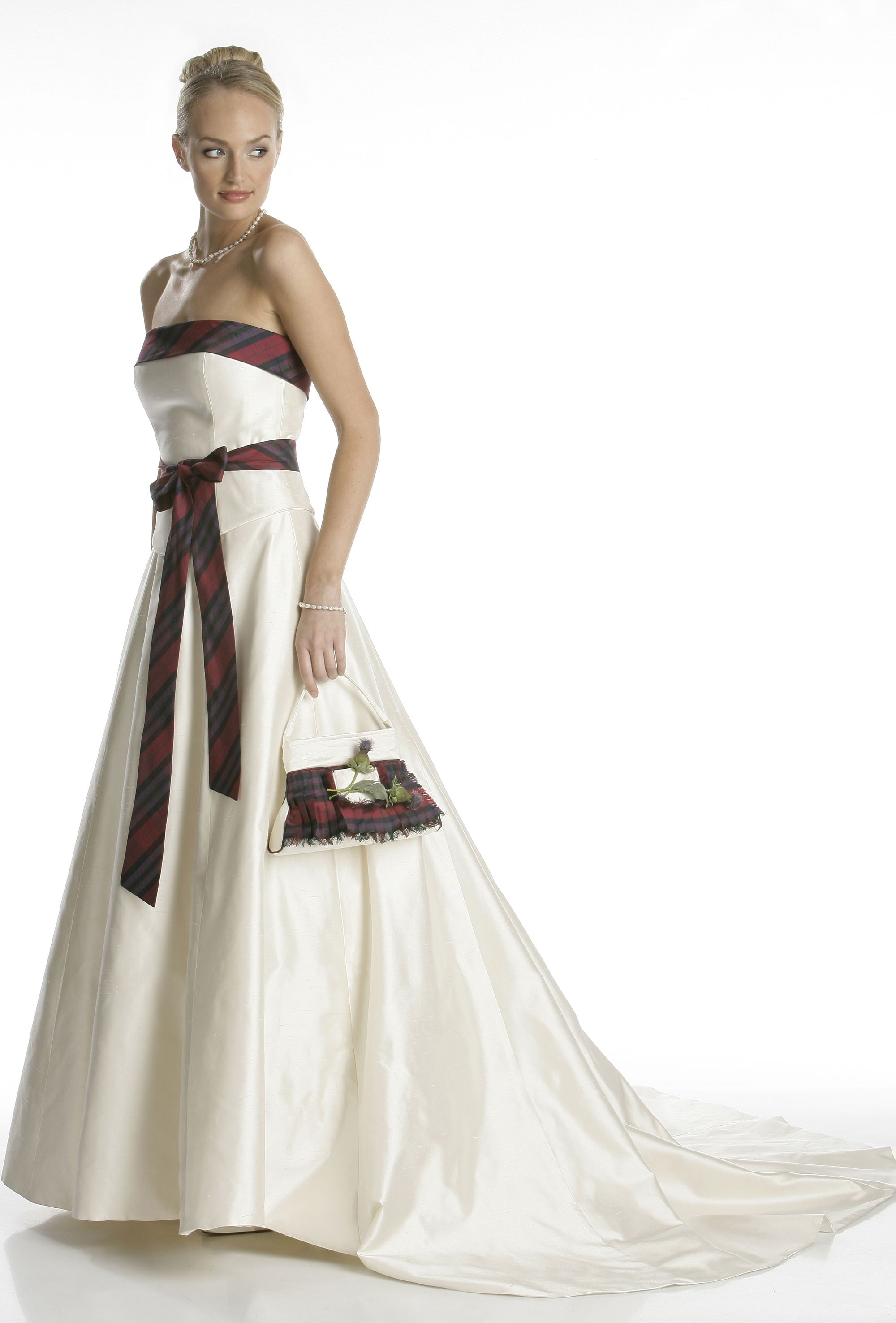 Highland wedding dress with tartan accents | Wedding Outfits ...