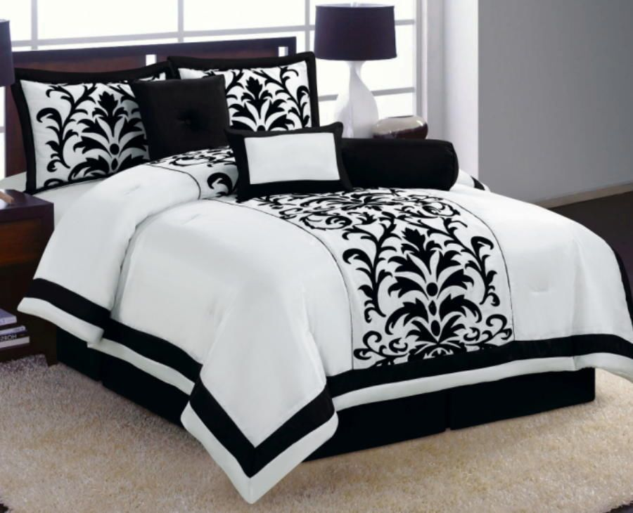 Best 6 Pc White Black Luxury Flocking Comforter Set Full Size 640 x 480