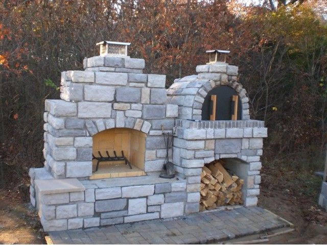 Wood Fired Outdoor Brick Pizza Oven And Outdoor Fireplace By The