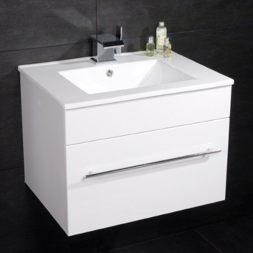 600 Vanity Unit With Basin For Bathroom Ensuite Cloakroom Wall Mounted Soft Closing Modern White