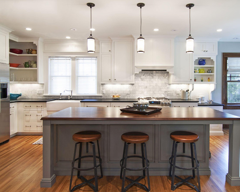 Cozy Kitchen Design Idea With White Kitchen Cabinet Gray Kitchen Island With Bro Kitchen Island With Seating Custom Kitchen Island Butcher Block Island Kitchen