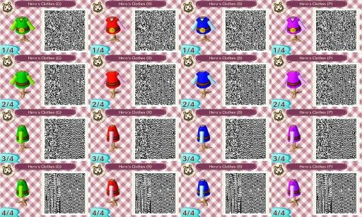 Link Clothes For Animal Crossing New Leaf Animal Crossing Qr