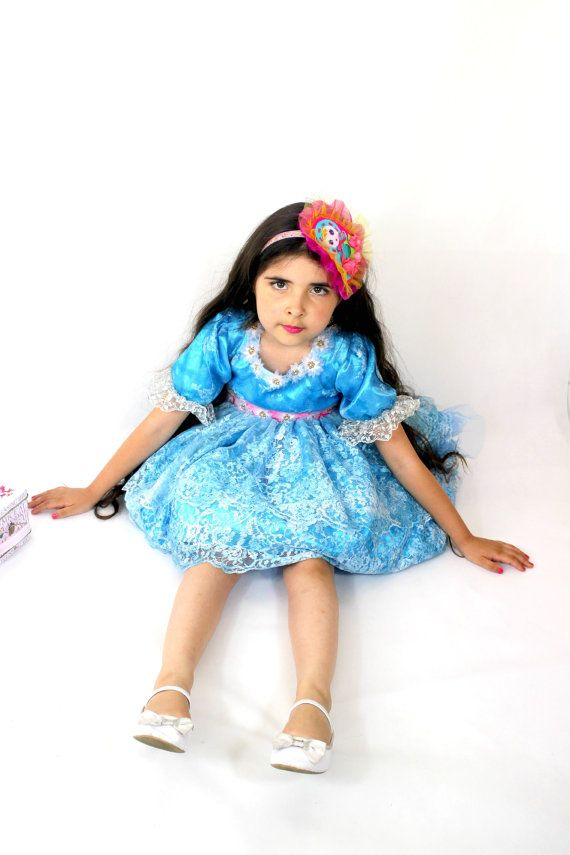 Teal Lace Dress with Pink Sash  Girls by #FriolinaFancyDesigns