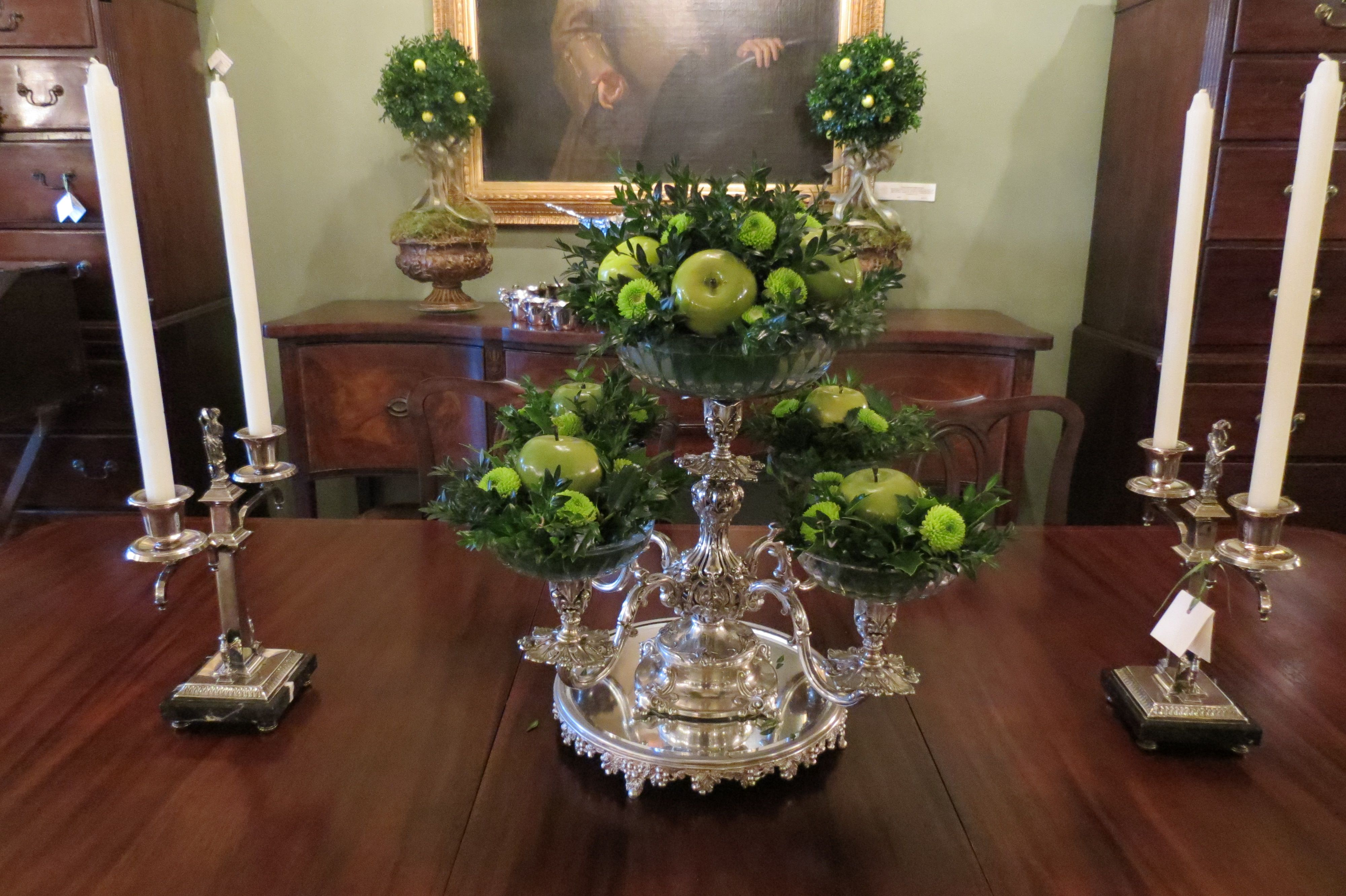 Silver Epergne With Apples Flowers And Boxwood