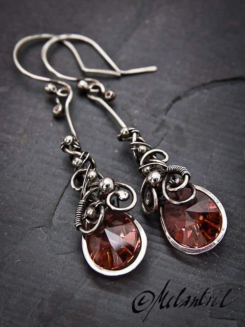 Oxidized and polished sterling silver with Swarovski crystals by Melantril