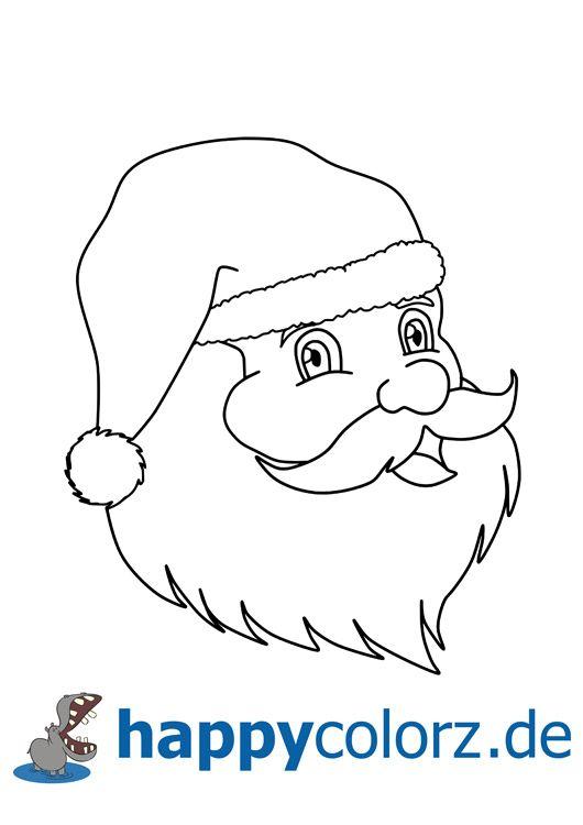 malvorlage weihnachtsmann kopf  ausmalbilder