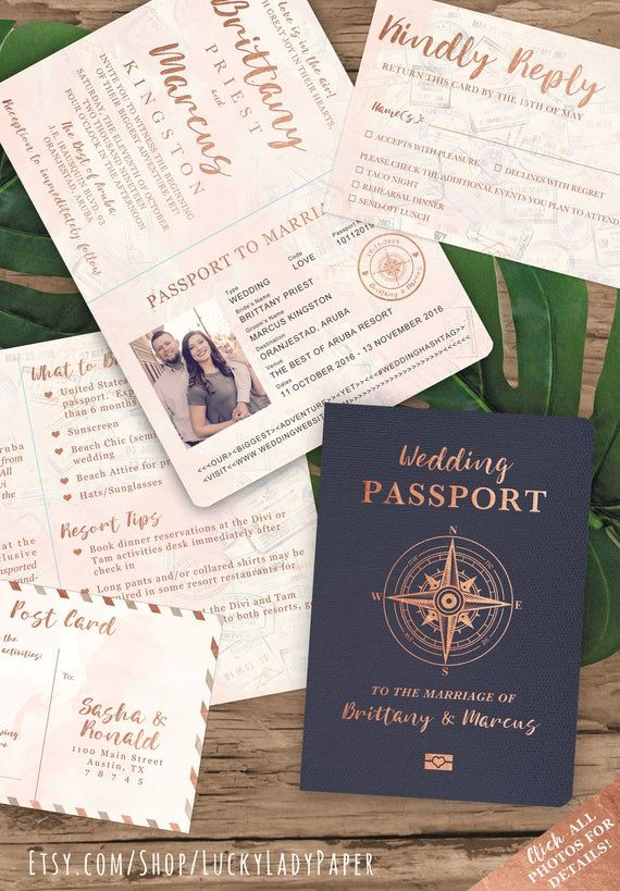 Destination Wedding Passport Invitation Set in Rose Gold and Blush Watercolor Compass Design by Luckyladypaper – see item details to order
