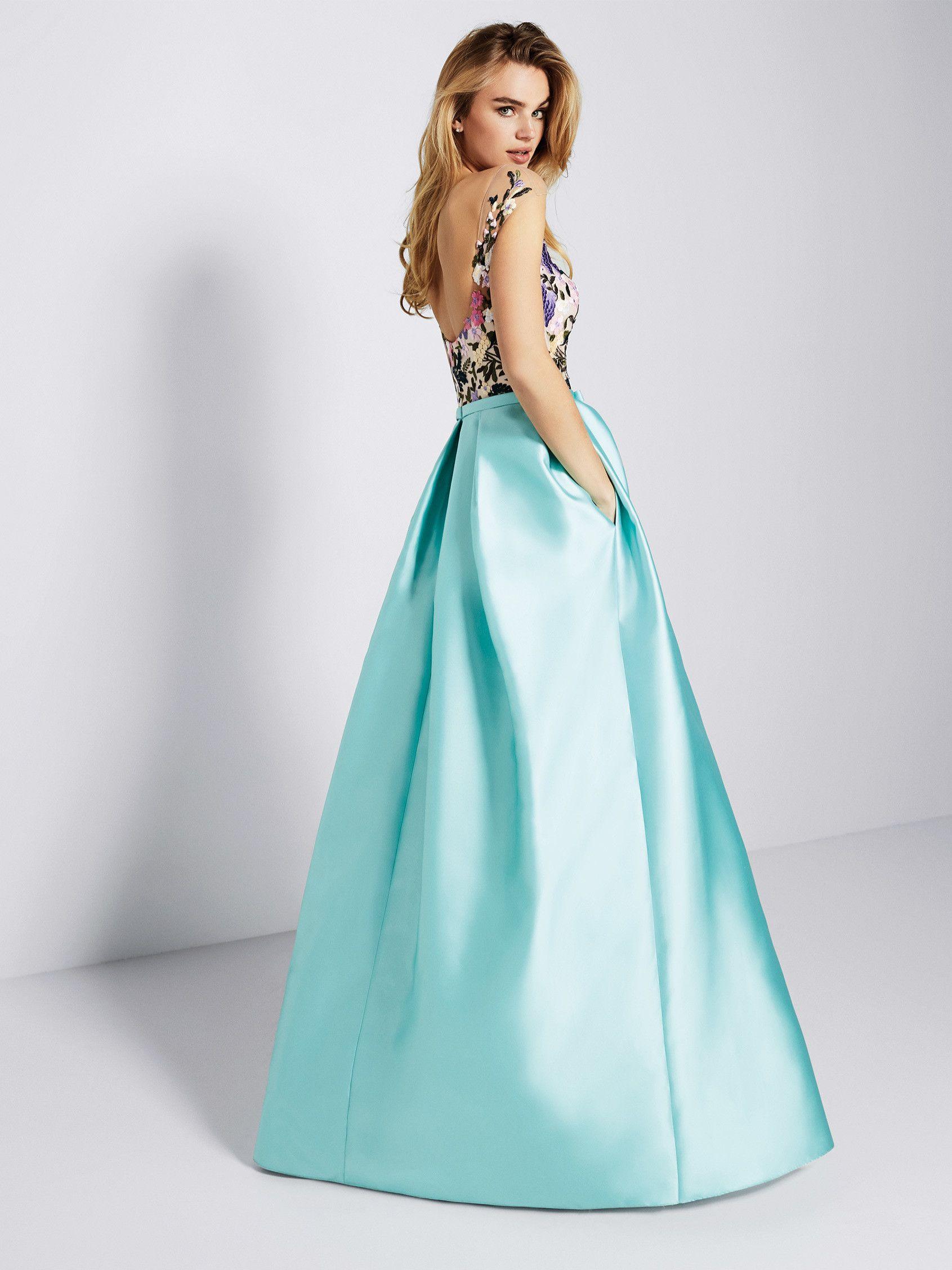 Vestido para boda mikado azul - Colección fiesta 2018 Pronovias ...