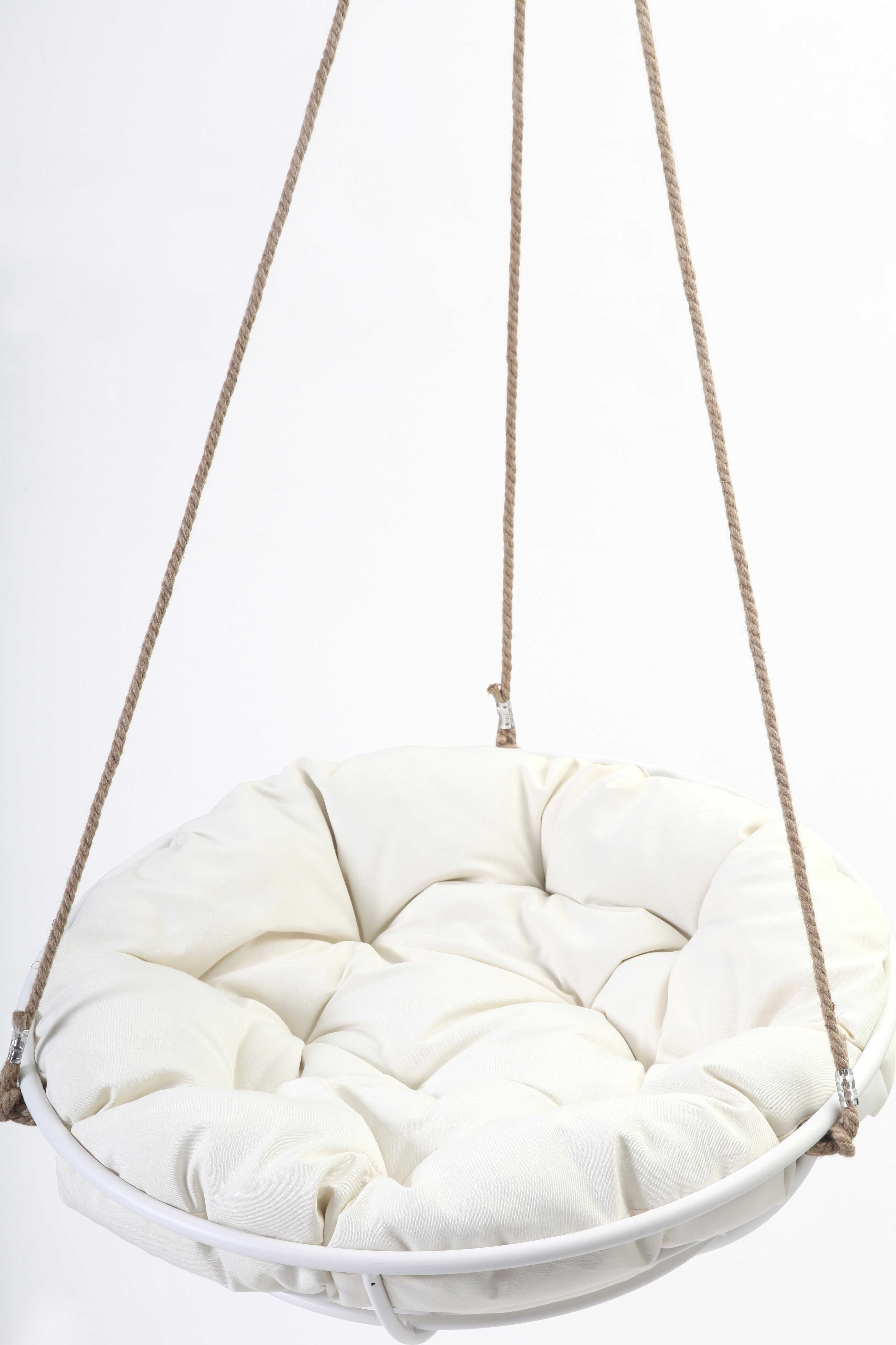 Genial Cool Hanging Papasan Chair For Your Beloved Family: Cozy White Framed Hanging  Papasan