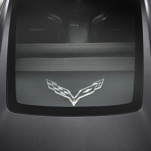 2015 Corvette Stingray Cargo Security Shades Upper And Lower Crossed Flag Logo Black Coupe 22952948 Corvette Stingray Chevrolet Accessories Corvette