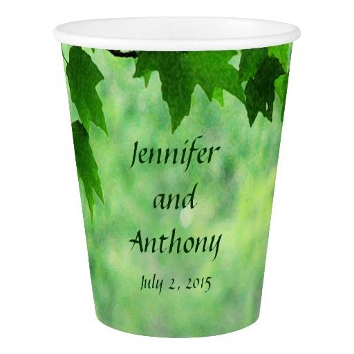 Green Leafy Wedding Paper Cup