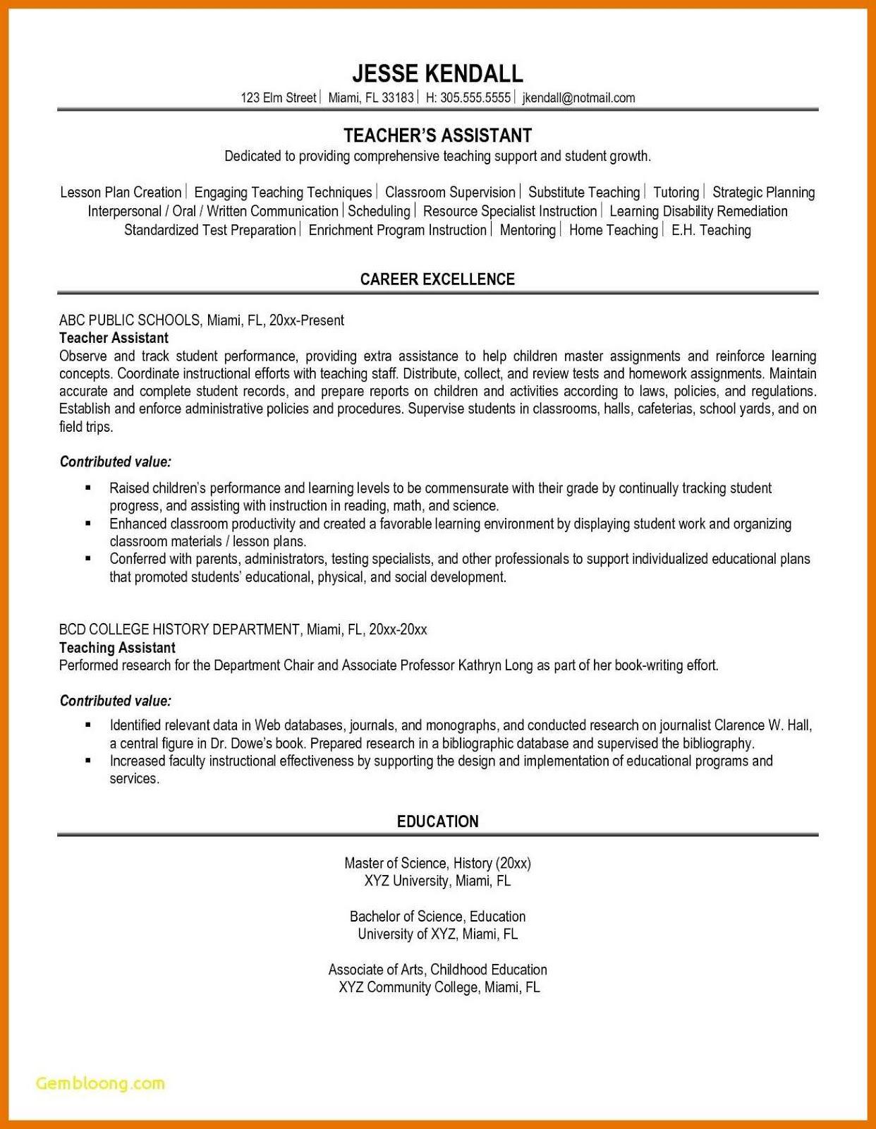 Teacher assistant resume sample 2019 resume sample skills