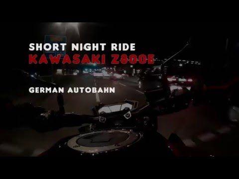 Kawasaki Z 800 E Red Night Ride On German Autobahn Video 2k