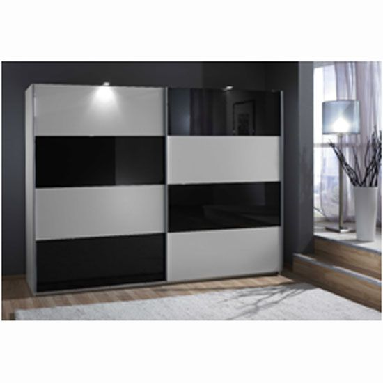 Easy Plus Sliding Wardrobe In White And Black Glass ...