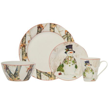 Mossy Oak Break Up Infinity 16-Piece Holiday Snowman Dinnerware Set-916436 - Gander  sc 1 st  Pinterest & Mossy Oak Break Up Infinity 16-Piece Holiday Snowman Dinnerware Set ...