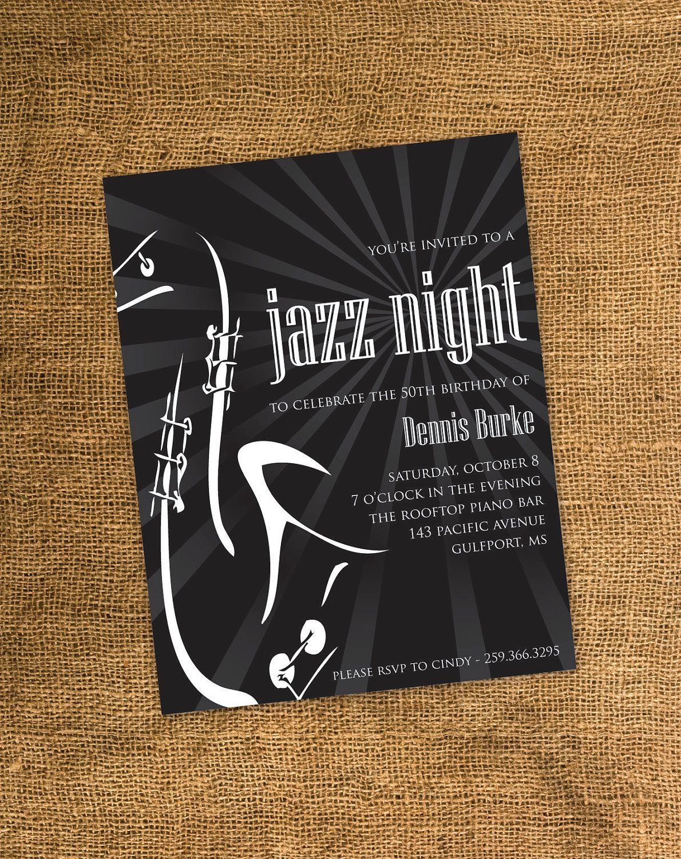 Printable Adult Birthday Party Invitation Guitar Jazz Theme Jazz