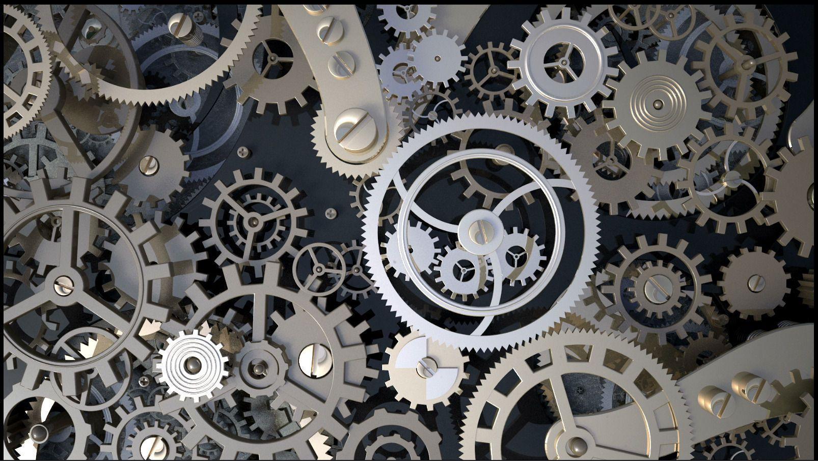 Background With Metal Cogwheels A Clockwork 3d Model Clockwork Stock Images Free Metal