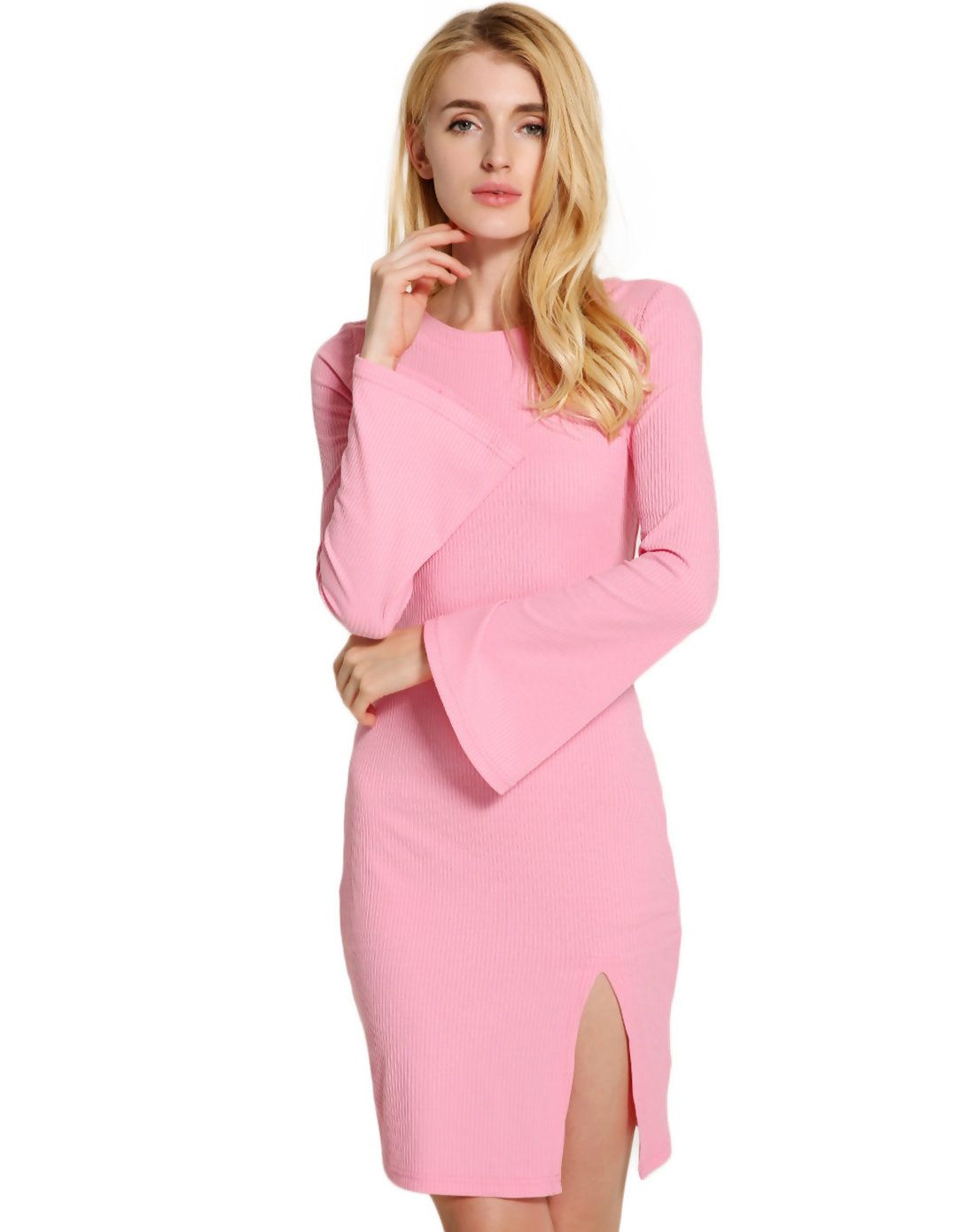 Pink sweater dress outfit  Fuchsia Bell Sleeve Bodycon Bandage Slit Sweater Dress