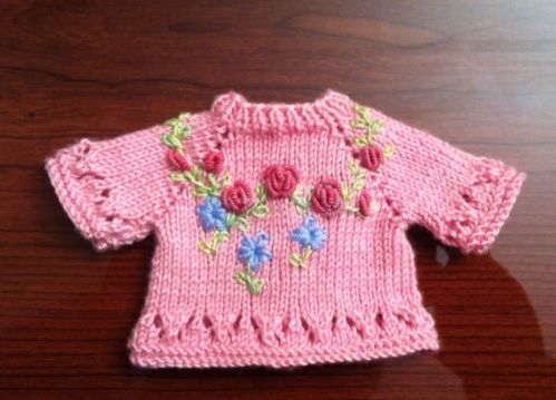 Rose-Pink-Embroidered-Sweater-fits-13-Effner-Little-Darling. Sold for $60.99 on 6/18/14