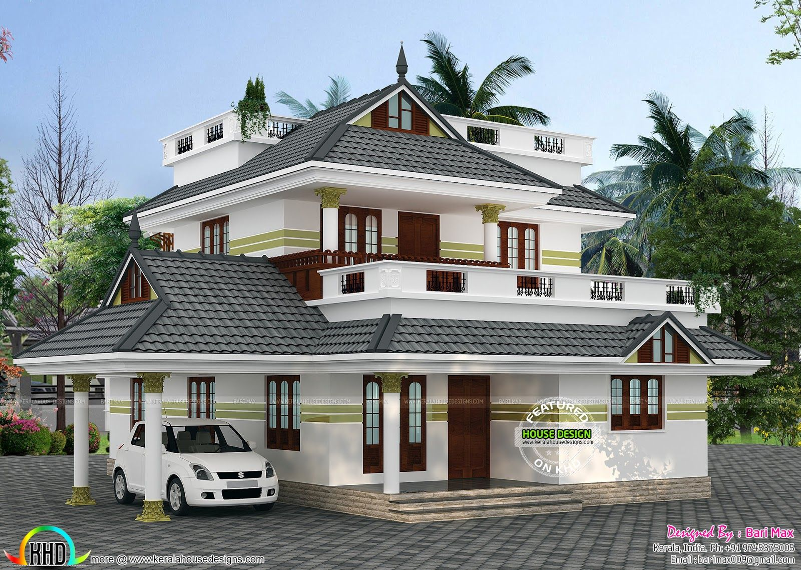 Beautiful 4 Bedroom Sloping Roof Home 1940 Sq Ft Idea To
