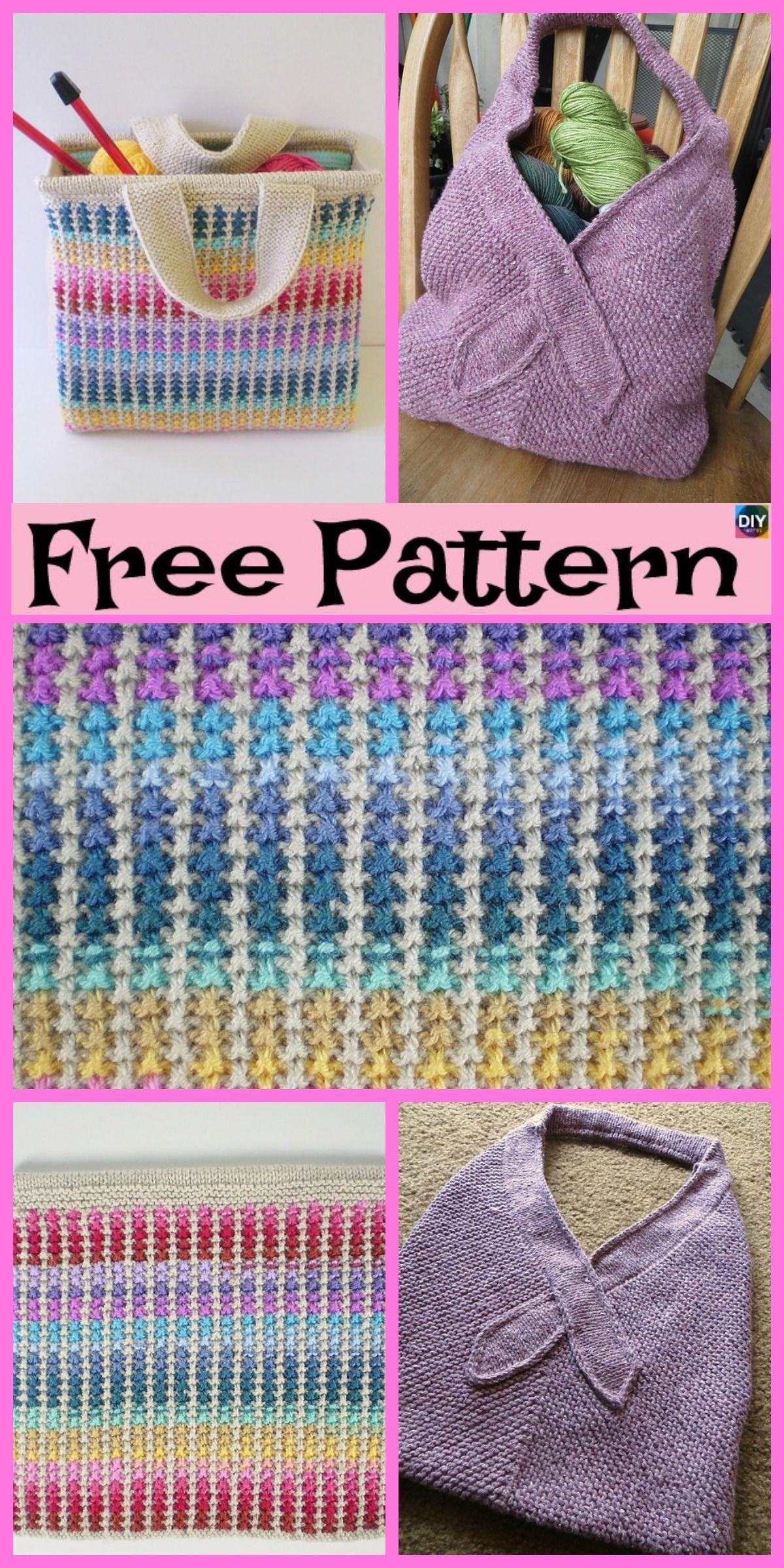 Beautiful Knit Tote Bag - Free Patterns in 2018 | Crochet & Knit ...