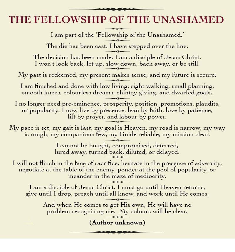 Fellowship of the unashamed poem