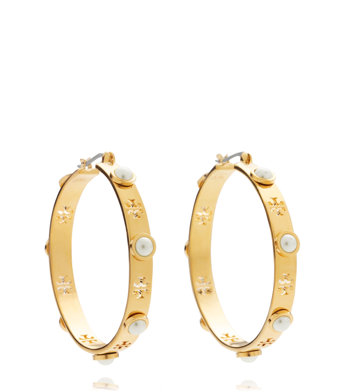 1f178a29db919d Tory Burch Pierced T Pearl Hoop Earring