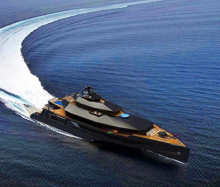 Gorgeous 102m Calibre All Black Super Yacht Designed By Mub Design! Follow  @daily Planet