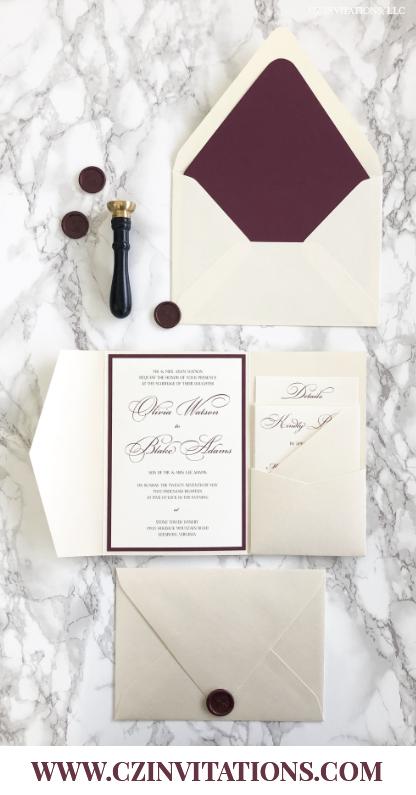 Burgundy And Opal Pocket Wedding Invitation Cz Invitations Wedding Invitation Envelopes Pocket Wedding Invitations Wedding Invitations