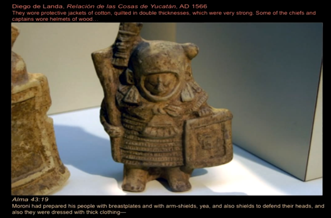 An armored Mesoamerican figure.  The armor described in the Book of Mormon matches many of the armored representations from Central America from the same periods.  Image from youtube.com.