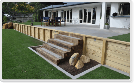 wood retaining walls with stairs