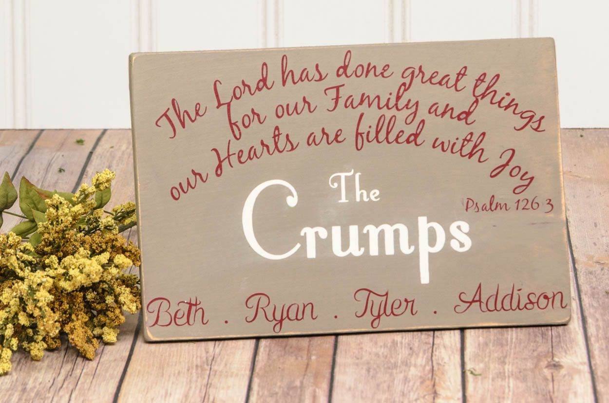 Personalized Family Name Scripture Wood Sign - Family Name