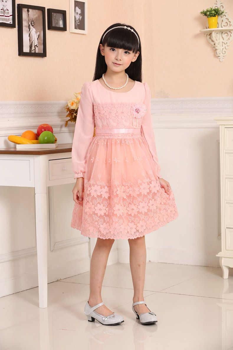 52328866f66 8-16Y Fashion teenage clothing clothes college girls age 12 13 14 15 16 big  girl children s dresses organza pink lace flower
