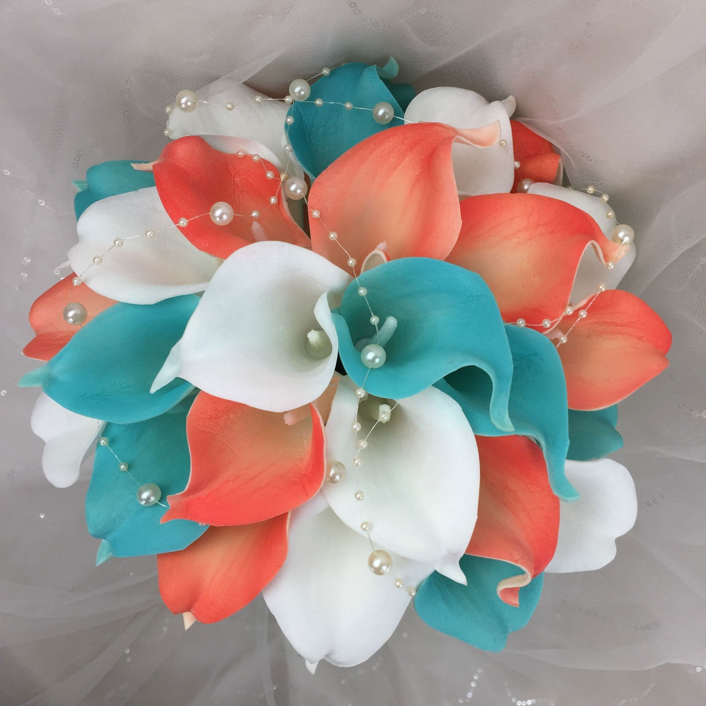 Lily Garden Real Touch Calla Lily Coral and White and Carnation Turquoise Flowers Wedding Bouquet (Wedding Bouquet Lilies) #turquoisecoralweddings
