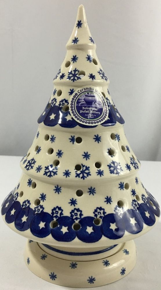 Boleslawiec Polish Pottery Christmas Tree Stars Snowflake Tea Light Luminary New Polish Pottery Christmas Tree Star Polish Pottery Boleslawiec