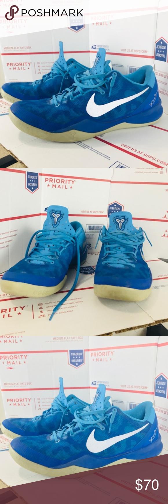 promo code 74edf 5e727 Mens Nike Kobe 8 System Blue 555035-400 Size 12 Pre Owned Mens Nike Kobe 8  System Blue Glow Strate Grey 555035-400 Size 12 Shoes Athletic Shoes