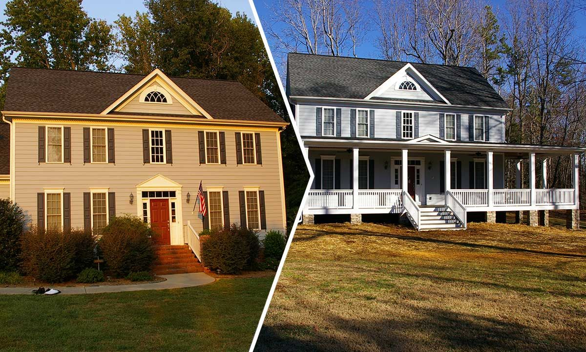 Wrap Around Front Covered Porch Addition Before And After Home