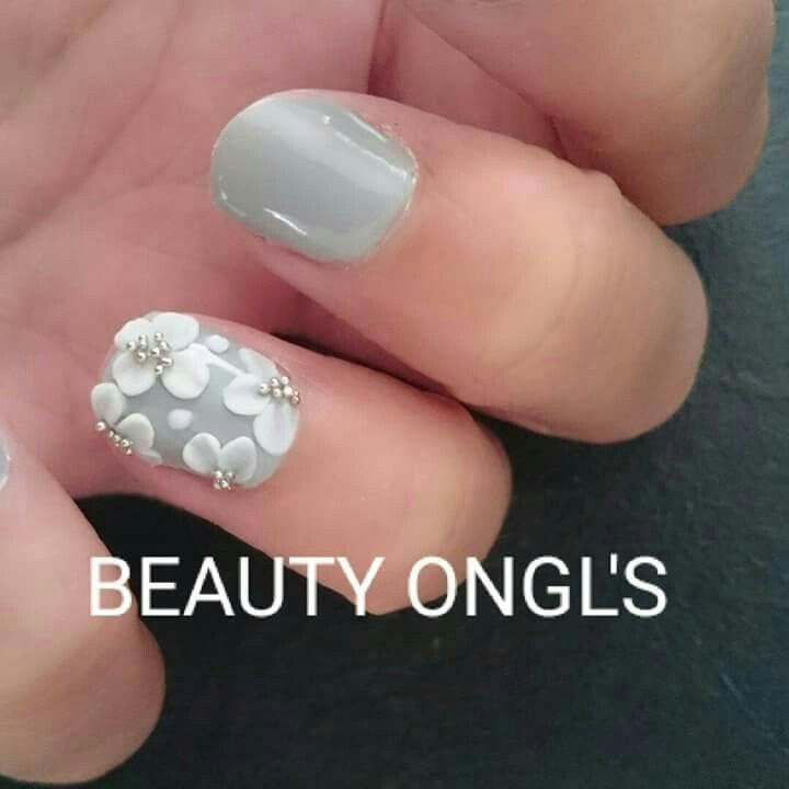 Connu Vernis semi-permanent gris ardoise déco fleurs résine   ongles gel  FK38