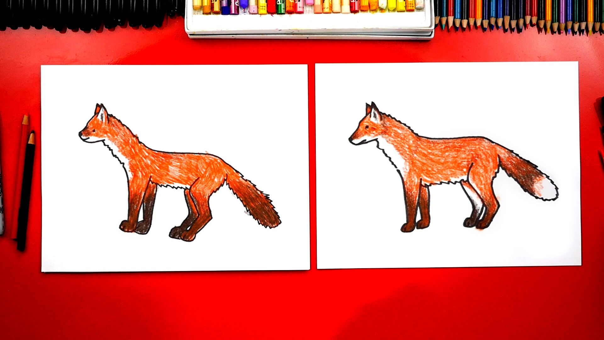 How To Draw A Realistic Fox Art For Kids Hub Art For Kids Hub Fox Art Drawings