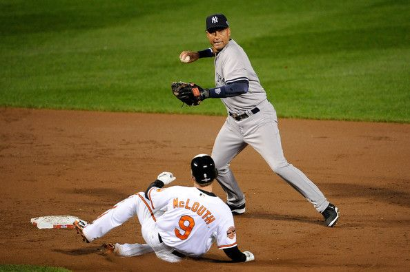 derek jeter double play | Derek Jeter Derek Jeter #2 of the New York Yankees forces out Nate ...