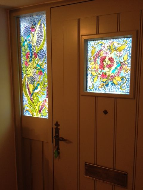 Here Is Chris S Door From The Inside For Bespoke Stained Glass Style Painted Panels On