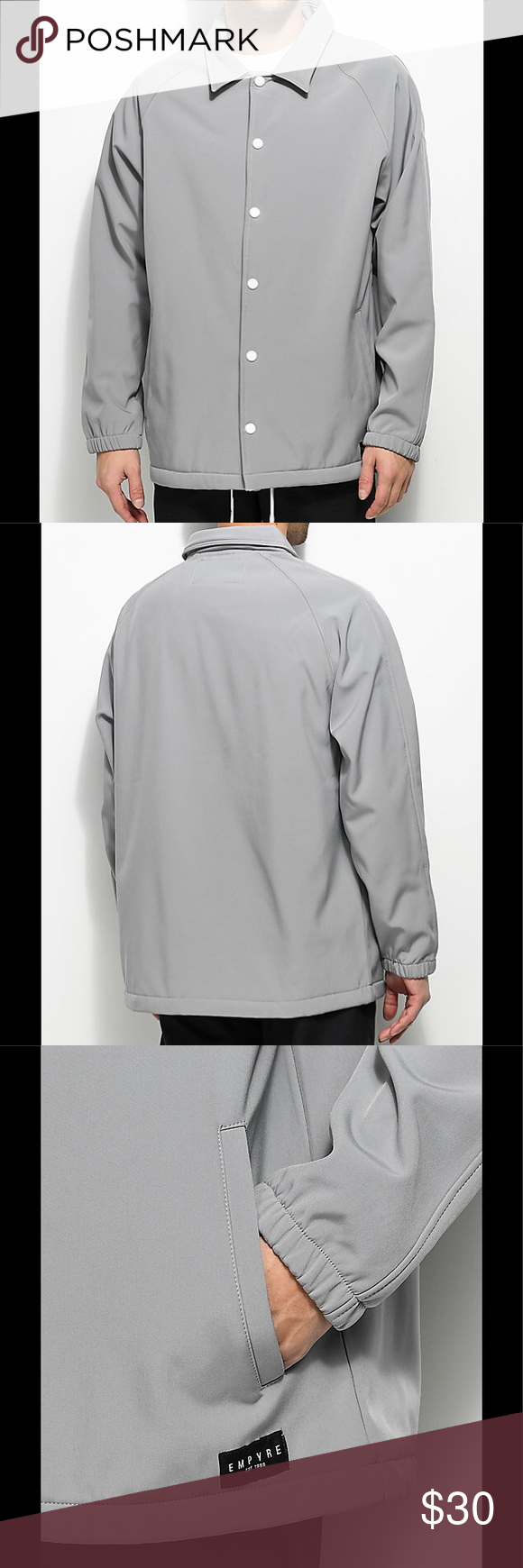 sold empyre light grey tech fleece coache jacket nwt